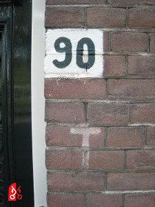 Telefoonaansluiting markering naast deur