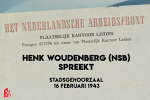 Henk Woudenberg spreekt in de Stadsgehoorzaal 1943